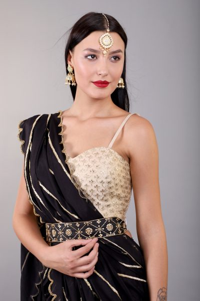 black-sharara-saree