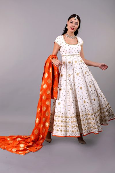 white-anarkali-set