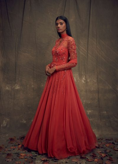 coral-full-sleeve-gown