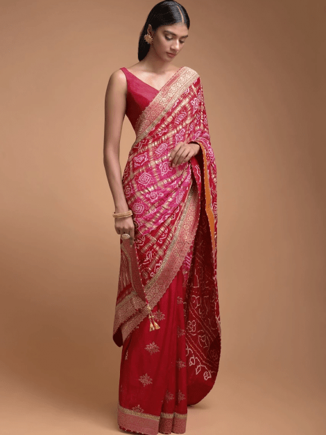red-half-and-half-saree-in-silk-with-weaved-floral-buttis-and-bandhani-print-online-kalki-fashion-508433_4_